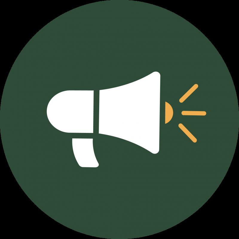 Green symbol with megaphone